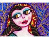 Gypsy Girl, Mixed Media Art, Art For Girls, Women Art, Whimsical Print, Girls Room Decor, 8 x 10 by Paula DiLeo