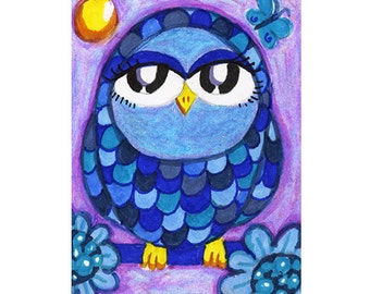 Owl Art, Owl Art Print, Pet Art, Whimsy, Childrens Art, Blue Owl Art, Blue And Purple, Animal Art, Blue Feathered Owl by Paula DiLeo