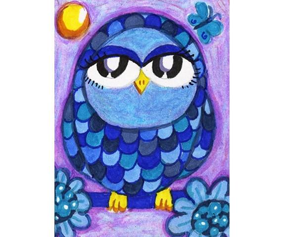 Owl Art, Owl Art Print, Pet Art, Whimsy, Childrens Art, Blue Owl Art, Blue And Purple, Animal Art, Blue Feathered Owl by Paula DiLeo