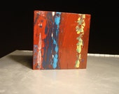 Surface Tension, Mini-Abstract Original Acrylic Painting on Wood by Rachel Dickson