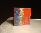 Rushing In, Mini-Abstract Original Acrylic Painting on Wood by Rachel Dickson