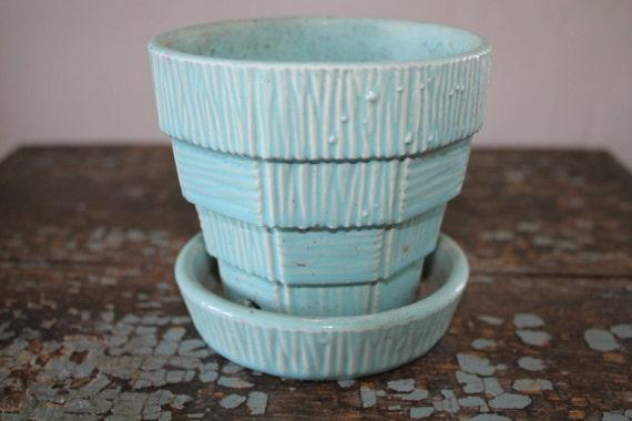 Vintage McCoy Turquoise Flower Pot