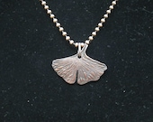 Copper Clay Gingko Leaf Pendant
