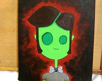 Zombie Boy Original Cartoon Painting
