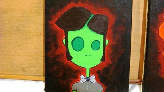 Zombie Boy. 10x8 Acrylic Zombie Painting on Canvas Glows in Dark