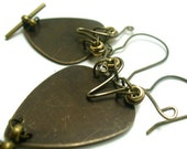 Brass Steampunk Owls Guitar Pick Upcycled Guitar Parts Earrings