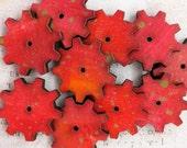 9 Hand Painted Red Orange Steampunk GEARS