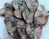 15 PARIS Pink Map HEART CHARMS