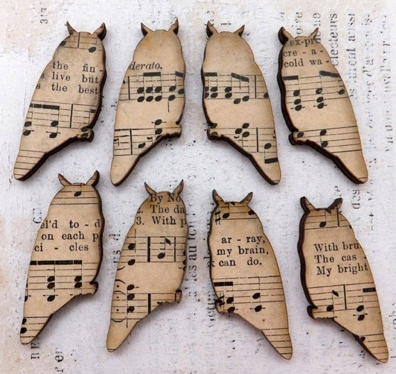4 Authentic Vintage Music Ephemera Collage Wood OWLS