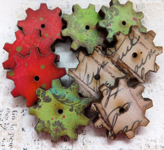 9 Hand Painted & Authentic Vintage Collage Steampunk GEARS