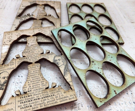 4 ATC ACEO Authentic Vintage Collage RAVENS and Eggs Wood Stencils/ Frames