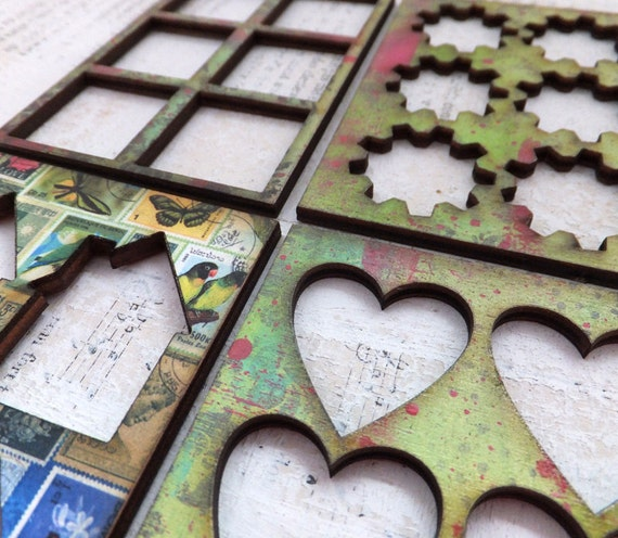 4 ATC ACEO Hand Painted Wood Stencils/ Frames - Colorful MIX