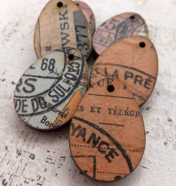 6 MINI EGG CHARMS with Authentic Vintage Documents - Earth Tones