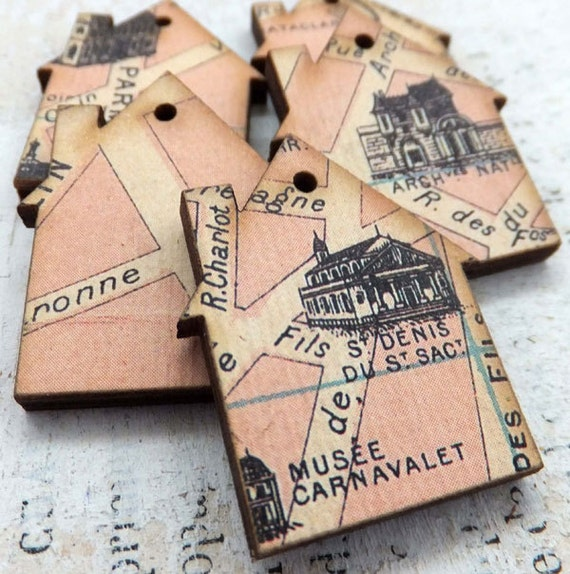 5 Pink PARIS HOUSE CHARMS with Maps