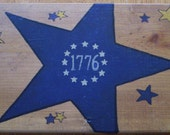 SALE ~ 1776 Star WOODEN Sign - Hand Painted Wood Folk Art STAR 1776 Decorative Sign Wall Decor Ready to Ship Was 7.00, Now 5.00