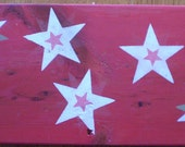 SALE ~ Stars WOODEN Sign - Hand Painted Wood Folk Art 1776 STARBURSTS Decorative Red Sign Wall Decor Ready to Ship Was 7.00, Now 5.00