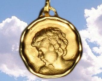 18kt yellow gold Angel pendant David 16mm