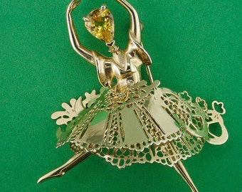 Paquita Ballerina OOAK Yellow Sapphire Brooch