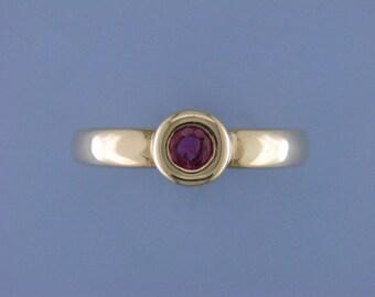 14k yellow gold bezel set  round Ruby ring