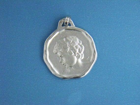 14kt white gold 16mm wide David angel pendant