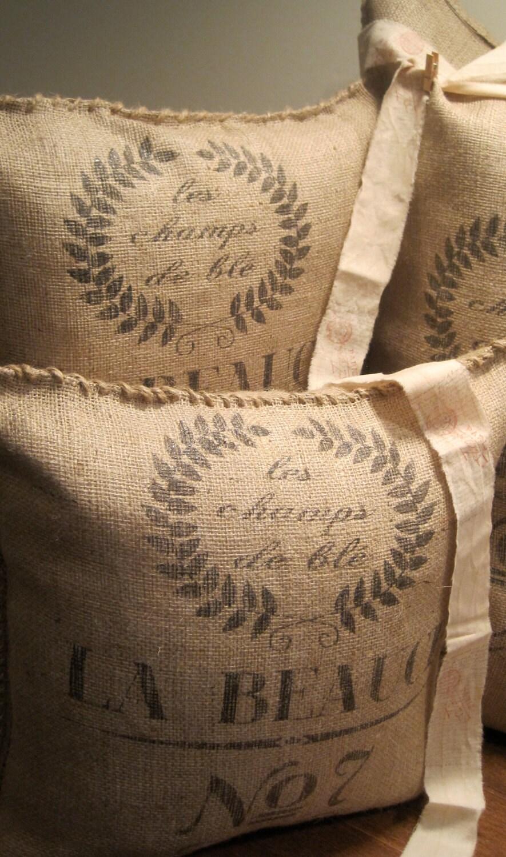 La Beauce No 7 Burlap Pillow By Burlapandlinenco On Etsy