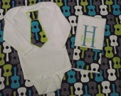 Guitar Burp cloth and Tie Onesie Set Personalized Great Personalized Baby Gift for Boys