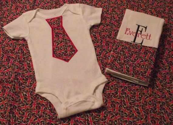 Union Jack Burp cloth and Tie Onesie Set Personalized Great Personalized Baby Gift for Boys