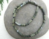 Mens Gemstone Necklace Jasper and Hematite Free Worldwide Shipping
