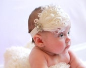 Beautiful White Ostrich Feather and Jeweled Pearl Headband-Wedding, Flower Girl, Petti Rompers, Pageants, Photos- Women, Teen, Girls or Baby