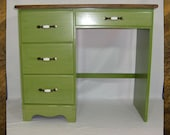 Vintage Desk Changetable in Green Apple Pigment Bomb and Chestnut