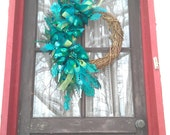 Teal, Blue, Green Christmas Wreath with Peacock Feathers and Ornaments