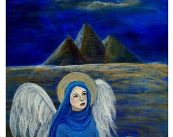Lapis Lazueli, An Earth Angel from Eygpt, An Original Fine Art 8 by 10 print, Home Decor, Wall Art, Blue, Angel, Pyramids,