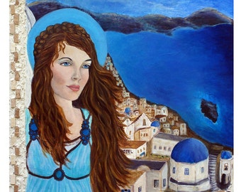 Athena, Earth Angel From The Greek Islands,  An Original Fine Art 8 by 10 print by Charlotte Phillips