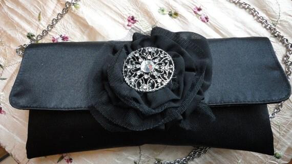 Black Satin Upcycled Evening Bag
