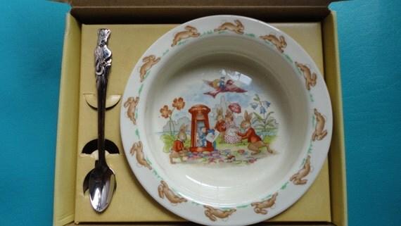Vintage Royal Doulton Bunnykins Infant Feeding Dish and Spoon