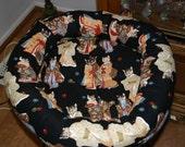 KatKnapper Bed - Large - Oriental Dressed Cats on Black Fabric