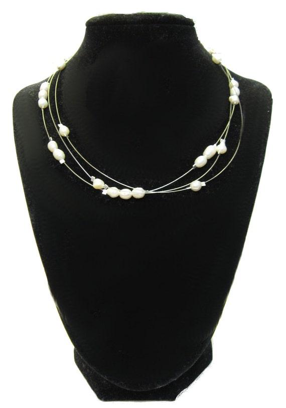 SALE 925 Sterling Silver Elegant Ivory Freshwater Pearl Three-Strand Floating Illusion Wedding Bridal Necklace