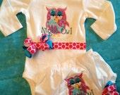 Night Owl Onesie & Bloomers...Bodysuit Diaper Cover for BaBy GiRl