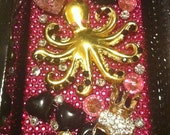 Custom Pink and Black Octopus Skull 3D iphone4 case