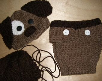 Knitted Baby Beanie Hat and Diaper Cover Brown Puppy Dog