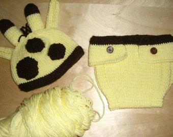 Knitted Baby Beanie Hat and Diaper Cover Yellow Giraffe