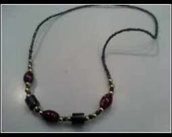 Glass Hemitite Beaded Necklace
