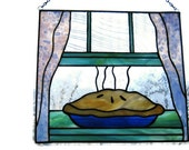 stained glass panel, kitchen and dining decor, pie