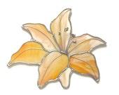 stained glass lily, suncatcher, garden stake, orange, pink, white