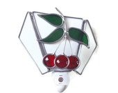 Red cherries stained glass night light handcrafted