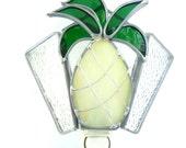 Stained Glass Night Light Yellow Pineapple Handmade