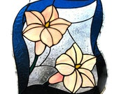 Tropical flowers stained glass panel pink yellow handmade