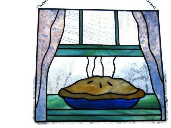 Stained glass panel kitchen and dining decor pie by for Stained glass kitchen windows