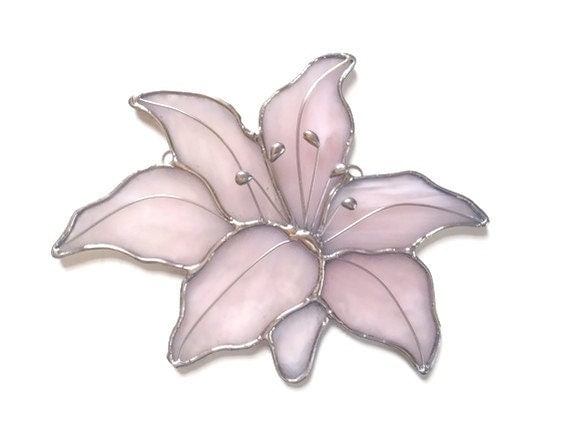 stained glass lily, suncatcher, pink and silver art glass,  garden art, window art