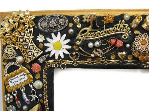 Jeweled mosaic frame grandmother black and gold handmade